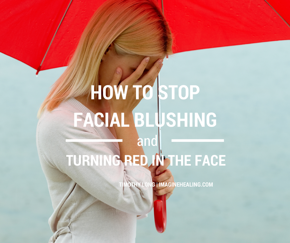 Woman with red umbrella and it says, How to stop facial blushing and turning red in the face