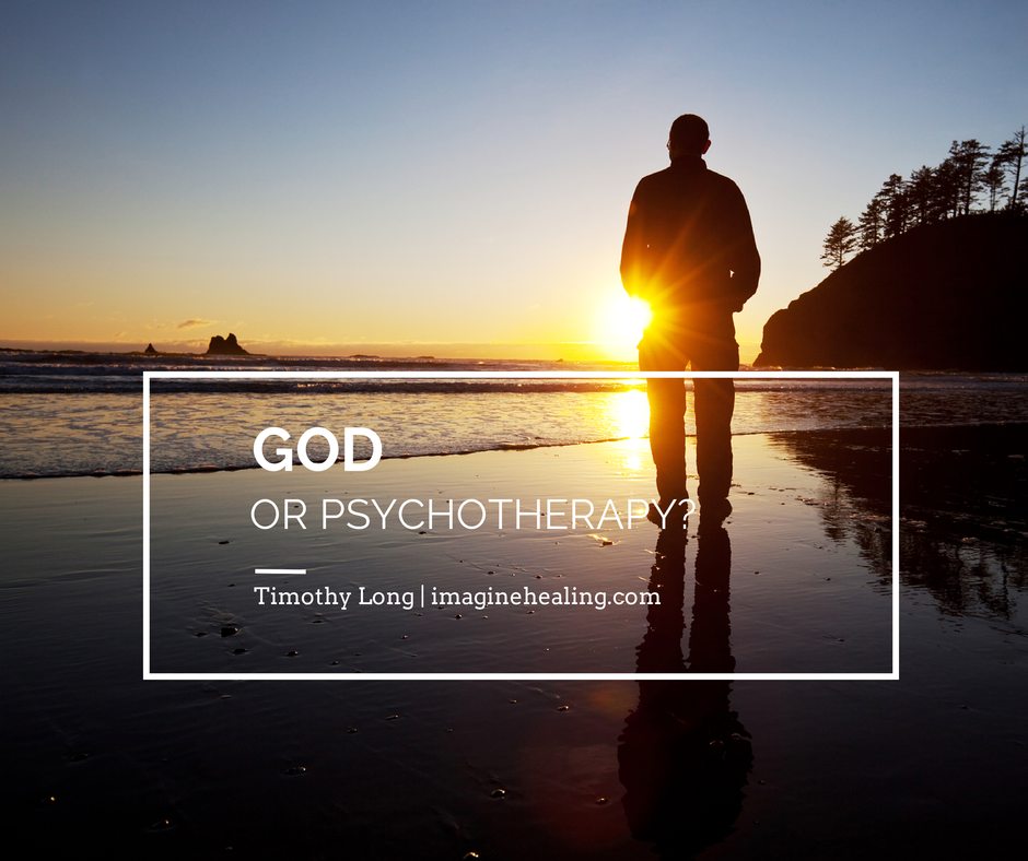 God or Psychotherapy man in beach with sun setting