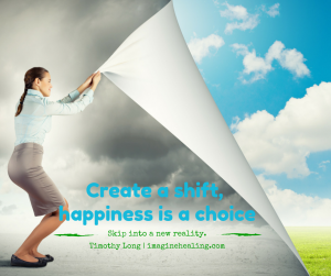 woman pulling back cloudy dark sky to reveal blue happy sky underneath and it says happiness is a choice