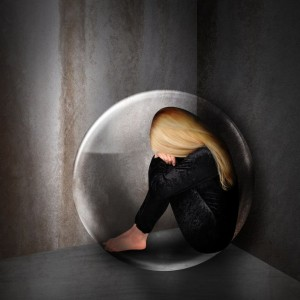Girl in a bubble, with PTSD and trauma feeling lonely and depressed.