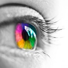 eye, inner vision, a human eye with rainbow pupil