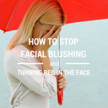 Blushing woman with red umbrella, with flushing and anxiety disorder.
